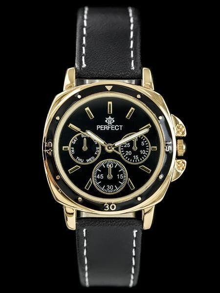 Zegarek Perfect PERFECT E602 - black/gold (zp744e) uniwersalny 1