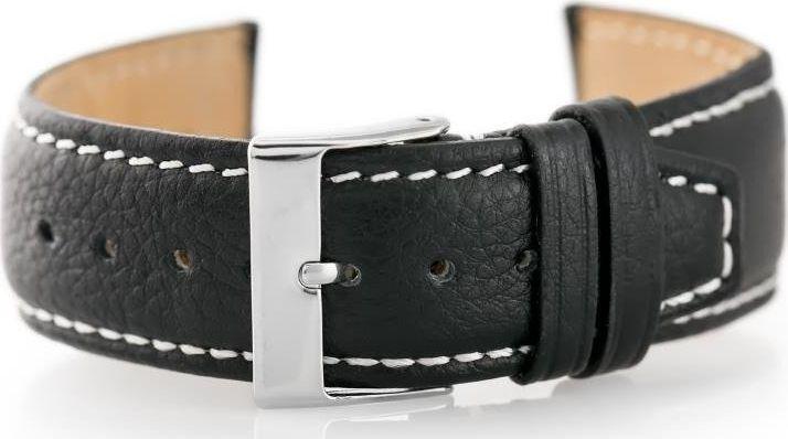 Pacific Pasek skórzany do zegarka W26 - PREMIUM - czarny/białe - 22mm uniwersalny 1