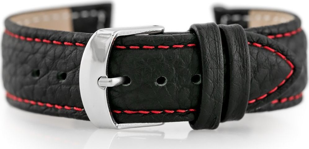 Pacific Pasek skórzany do zegarka W71 - czarny/czerwony - 18mm uniwersalny 1