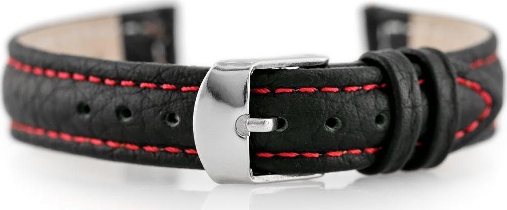 Pacific Pasek skórzany do zegarka W71 - czarny/czerwony - 14mm uniwersalny 1