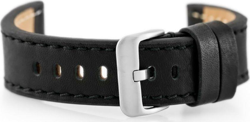 Pacific Pasek skórzany do zegarka W48 - PREMIUM - czarny/czarne - 24mm uniwersalny 1