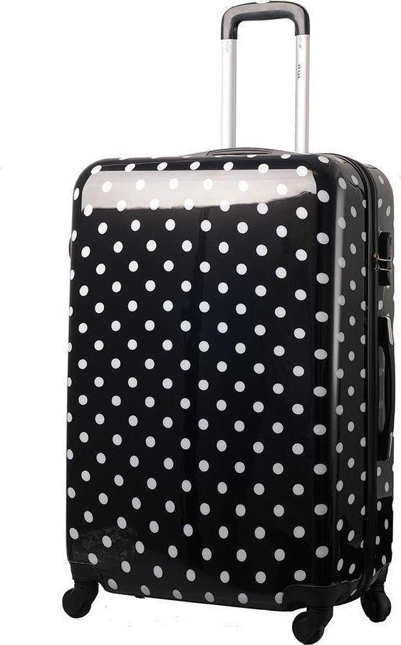 Kemer Duża walizka KEMER PRINT L Czarno biała uniwersalny 1
