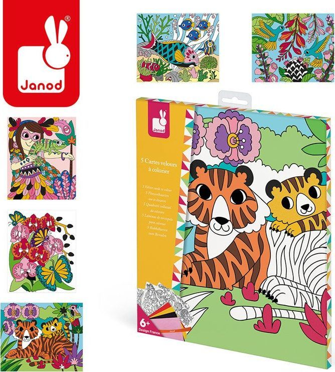 Janod Zestaw kreatywny Aksamitne karty Tropikalna dżungla (J07792) 1