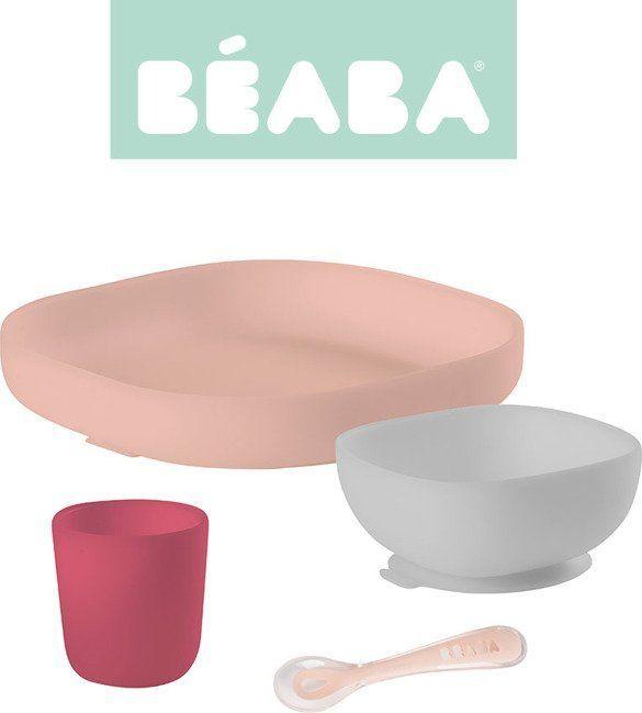 Beaba Komplet naczyń z silikonu z przyssawką pink 1