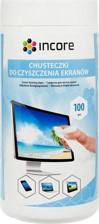 Incore Chusteczki nawilżane do czyszczenia ekranów TFT/LCD 100 szt. duża tuba (ISC1515) 1