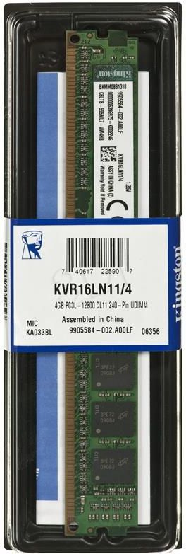 Pamięć Kingston ValueRAM, DDR3L, 4 GB, 1600MHz, CL11 (KVR16LN11/4) 1