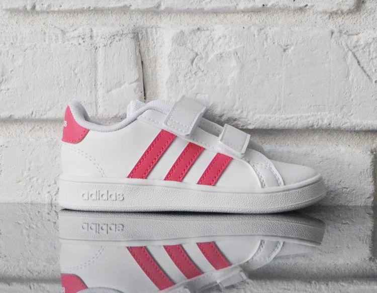 Buty dla dzieci adidas Grand Court biało różowe EF0115