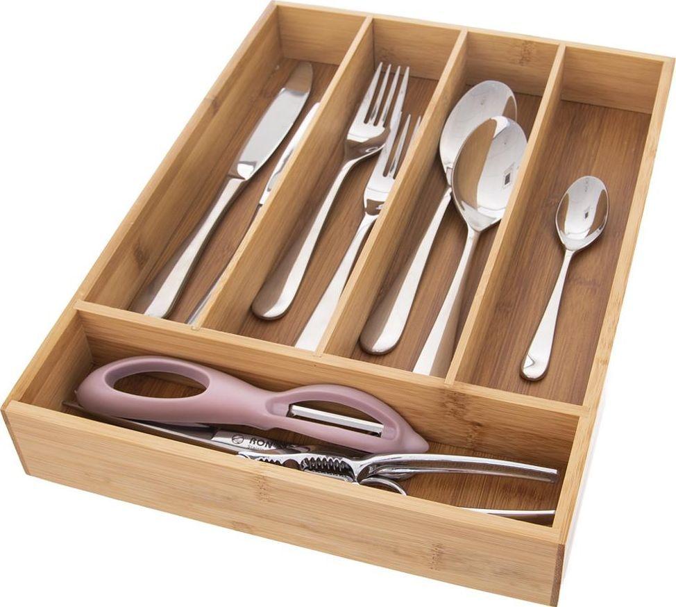 Excellent Housewares Wkład / organizer do szuflady na sztućce BAMBUSOWY uniwersalny 1