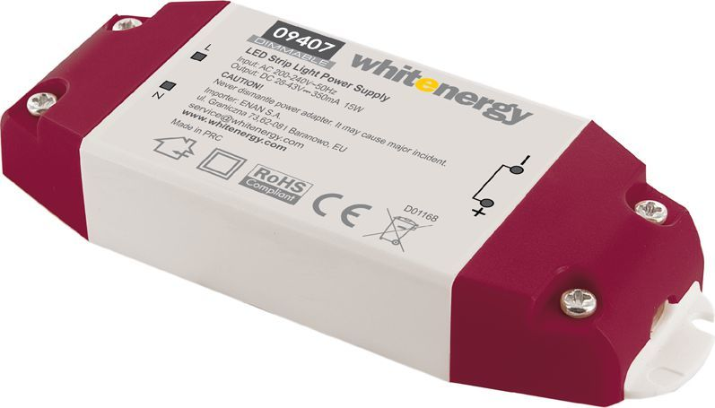 Whitenergy Zasilacz LED Dimmable 230V 15W 28-43V 350mA (09407) 1