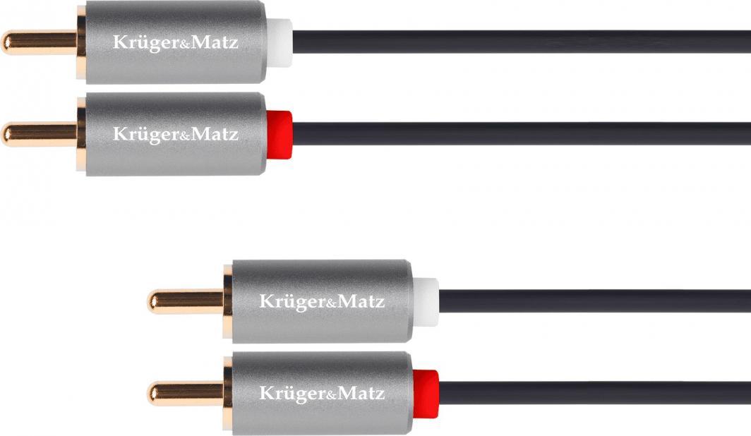 Kabel Kruger&Matz RCA (Cinch) x2 - RCA (Cinch) x2 3m srebrny (5076) 1
