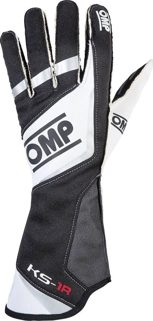 OMP Racing Rękawice OMP KS-1R czarno/biało/srebrne L 1