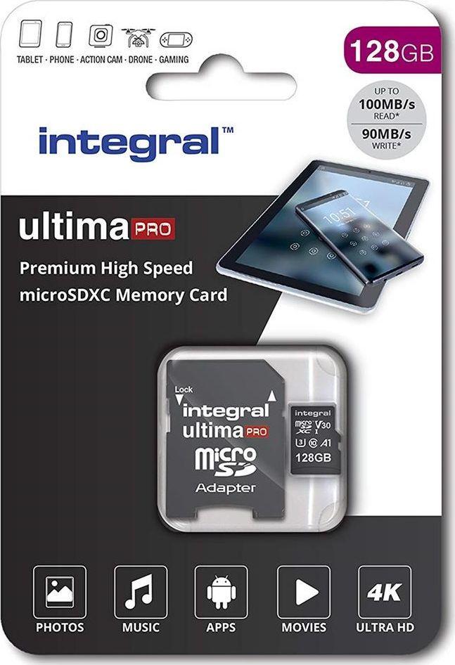 Karta Integral Premium MicroSDXC 128 GB Class 10 UHS-I/U3 A1 V30 (INMSDX128G-100/90V30) 1