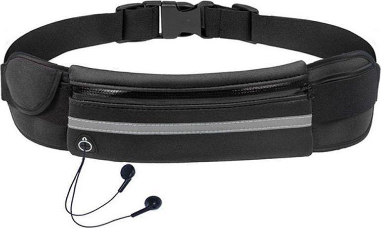 Hurtel Pas do biegania saszetka nerka na bidon etui na telefon z wyjściem na słuchawki czarny 1