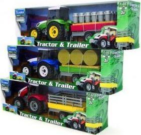 Teama Traktor + naczepa 1:32 niebieski v.1 1