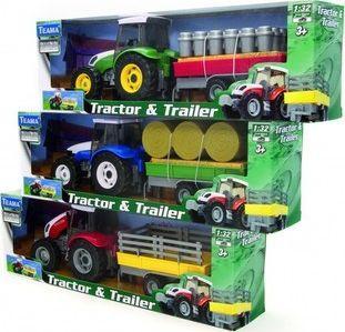 Teama Traktor + naczepa 1:32 czerwony v.1 1