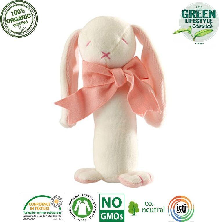 Maud N Lil Maud N Lil Rose The Bunny Stick Rattle Grzechotka Organiczna Miękka 1