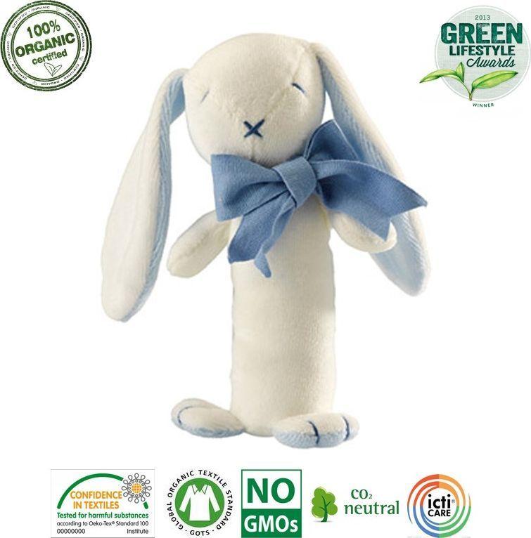 Maud N Lil Maud N Lil Oscar The Bunny Stick Rattle Grzechotka Organiczna Miękka 1