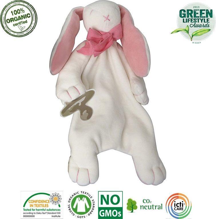 Maud N Lil Maud N Lil Rose The Bunny Comforter Organiczny Mięciutki Pocieszyciel dou dou z łapką na smoczek 1