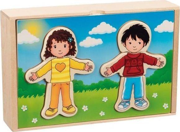 Goki Drewniana układanka ubierz chłopca i dziewczynkę 1