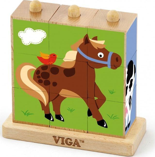 Viga Drewniana Układanka Logiczna Puzzle Edukacyjne Viga Toys Farma 9 elementów 1