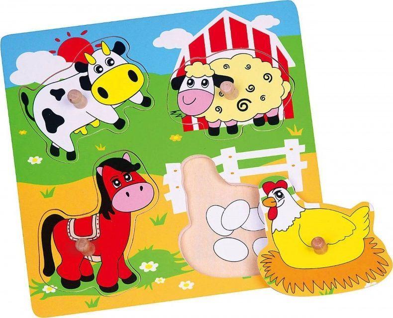 Viga Drewniane Puzzle Farma Układanka Niespodzianka Viga Toys 1
