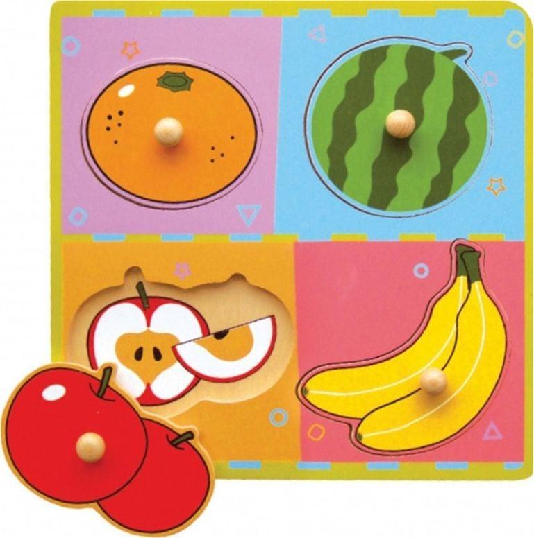 Viga Drewniane Puzzle Owoce Układanka Niespodzianka Viga Toys 1