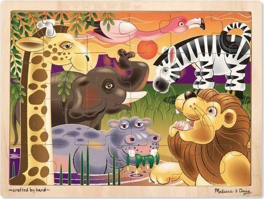 Melissa & Doug Duże drewniane puzzle – Afryka - 24 el. 1