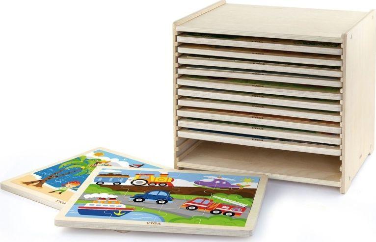 Viga Puzzle drewniane 12 plansz po 16 puzzli w stojaku Viga Toys 1