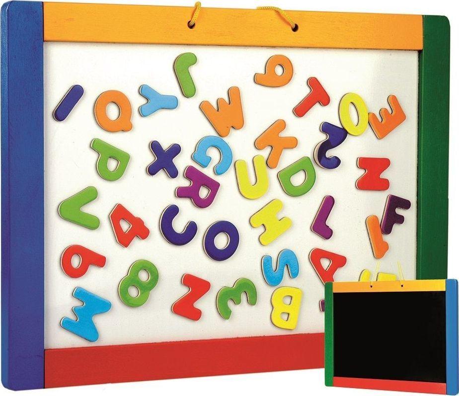 Bino Dwustronna tablica magnetyczna i kredowa z literkami 1