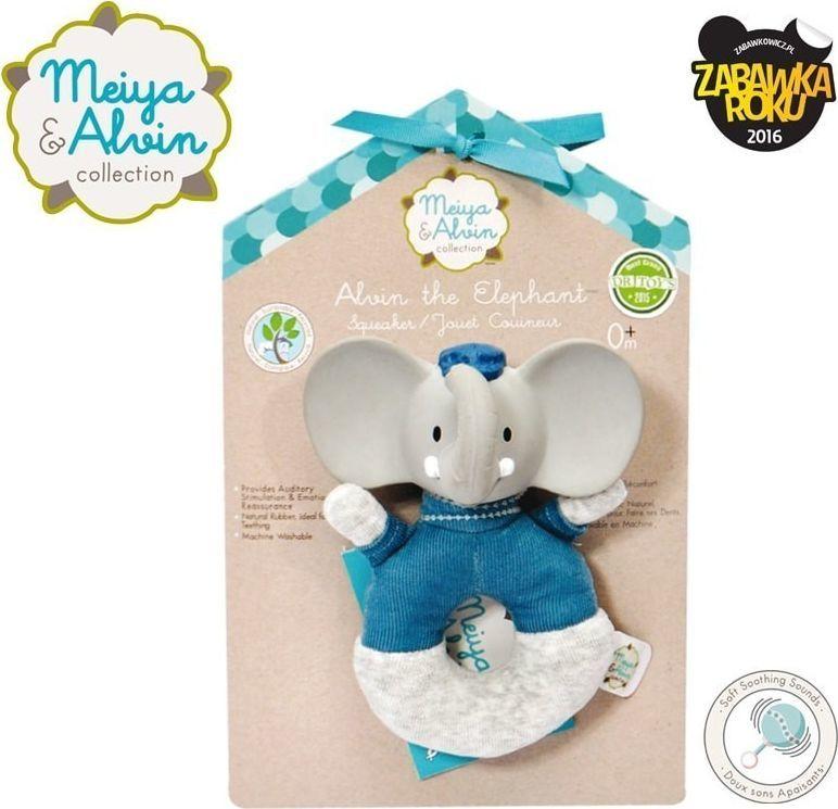 Meiya and Alvin Meiya & Alvin - Alvin Elephant Soft Rattle with Organic Teether Head 1