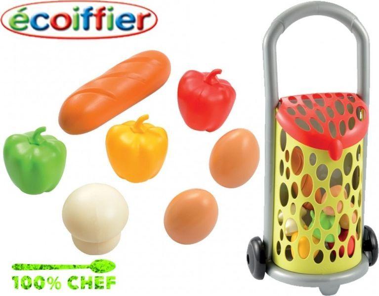Ecoiffier Wózek koszyk na zakupy z artykułami spożywczymi 1