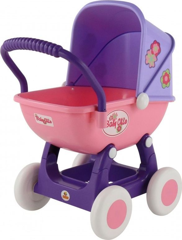 Wader Duży wózek gondola dla lalek 43cm Wader QT Arina fioletowo różowy 1
