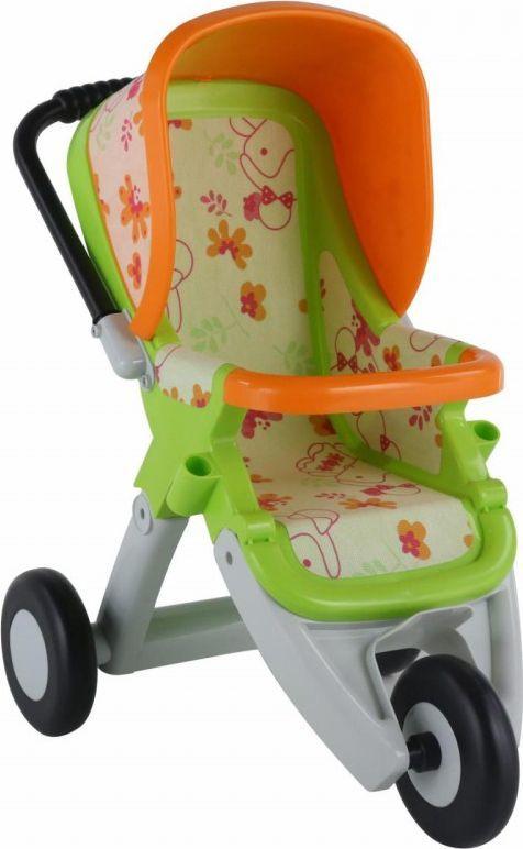 Wader Duży wózek spacerówka dla lalek zielono-pomarańczowy Wader QT 1