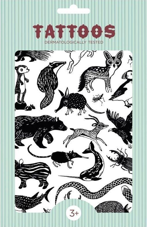 Petit Monkey Petit Monkey - Tattoo Black Animals imprezowy zestaw tatuaży dla dzieci 1