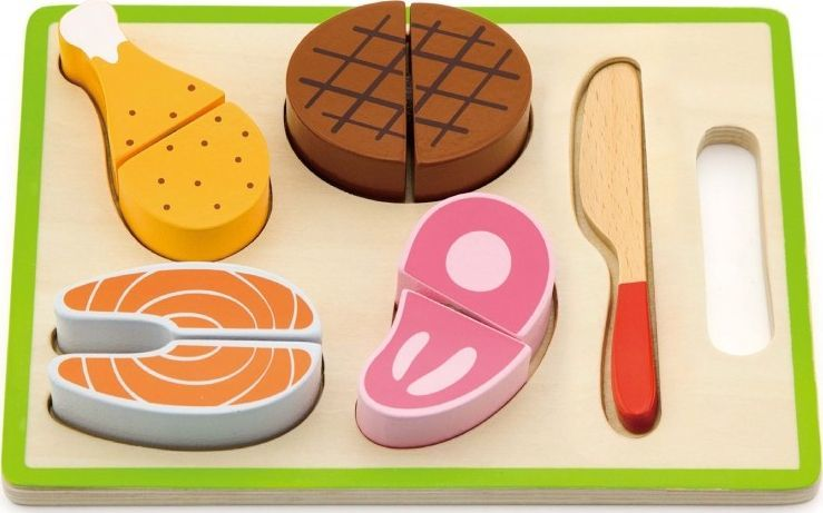 Viga Drewniany Zestaw Obiadowy Deska Do Krojenia Nóż Viga Toys 1