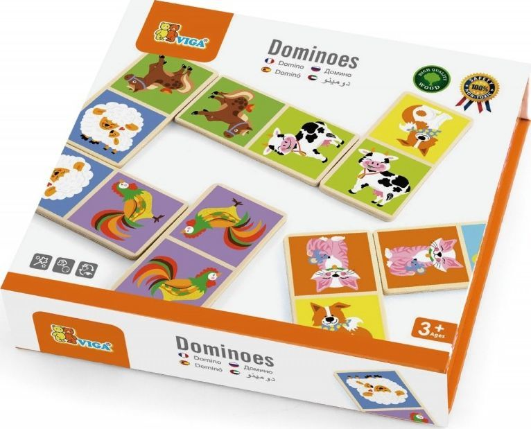 Viga Drewniana gra Domino Farma Viga Toys 28 elementów 1