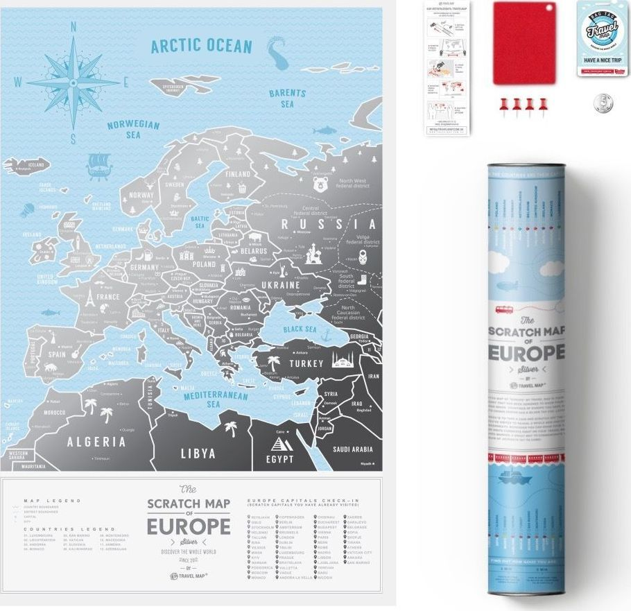 1DEA.me MAPA ZDRAPKA EUROPA TRAVEL MAP SILVER EUROPE 1