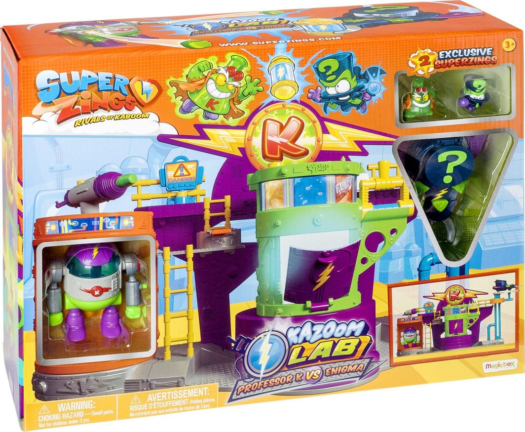 Magic Box Super Zings laboratorium + figurki Profesor K i Enigma + robot + pojazd Superzings 1