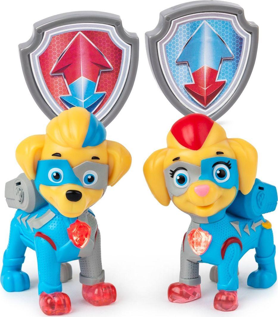 Spin Master Psi Patrol Mighty Pups bliźniaki Mighty Twins 2 figurki + odznaki 1