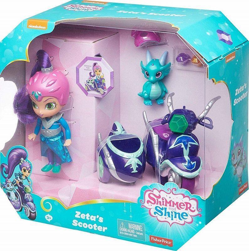 Fisher Price Shimmer i Shine Lalka Zeta z latającym skuterem i figurka Nazboo (FHN31) 1