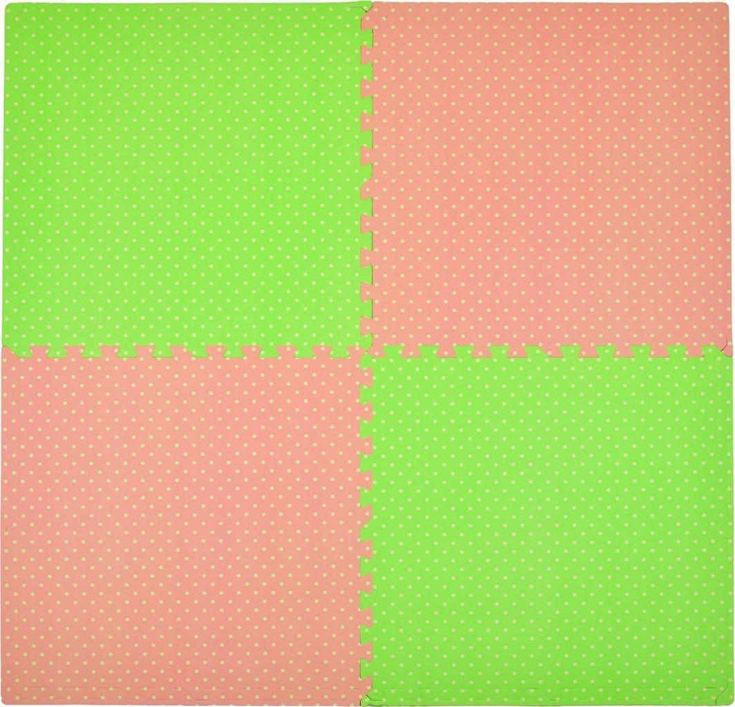 Humbi Humbi Puzzle piankowe Mata piankowa 62 x 62 x 1 cm 4 szt rożowo -zielona w kropki uniwersalny 1