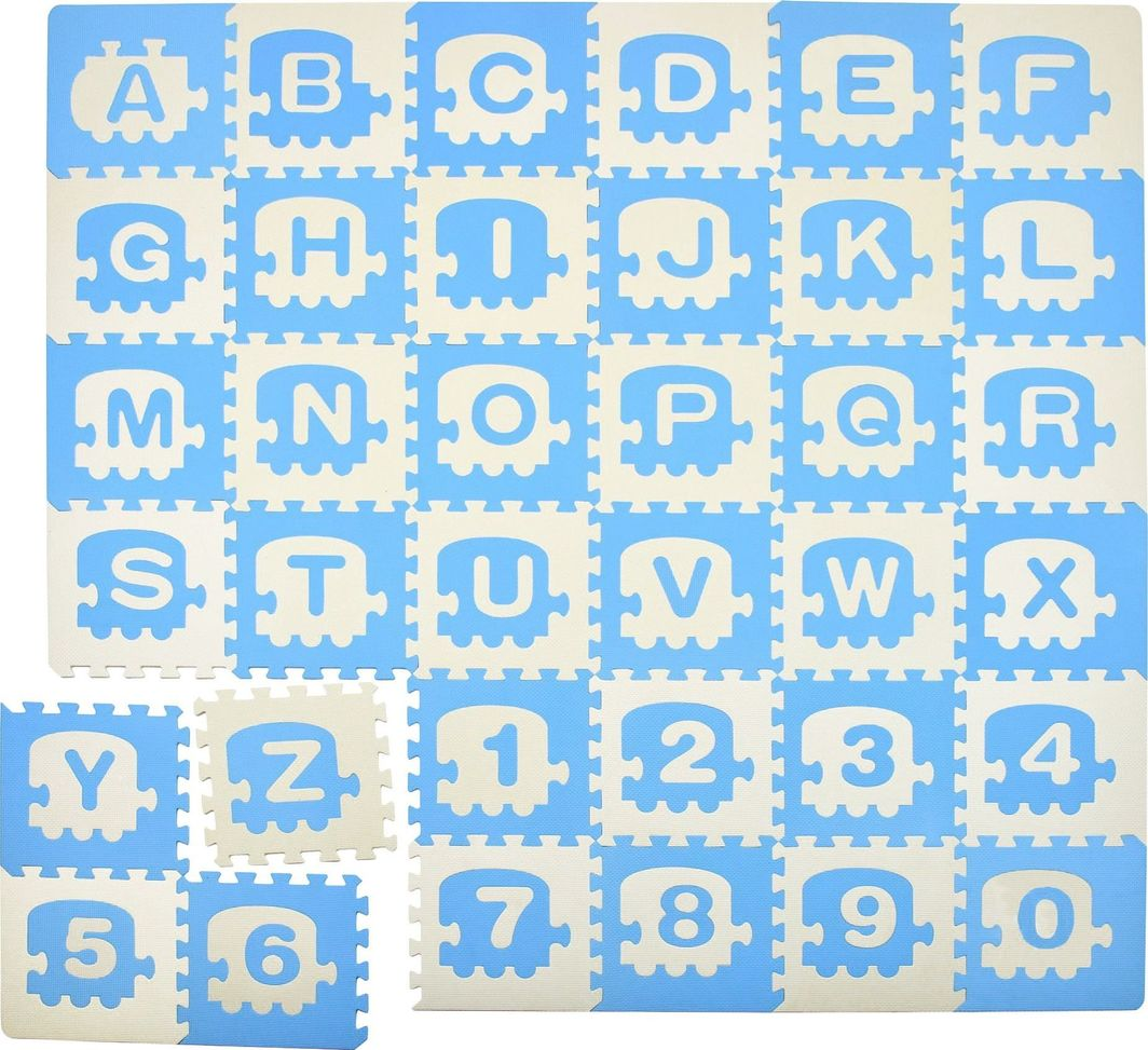 Humbi Humbi Puzzle piankowe Mata piankowa edukacyjna Pociąg Alfabet Cyfry 180x180x1 cm uniwersalny 1