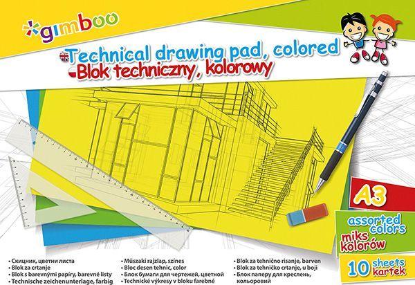 Gimboo Blok techniczny A3 10k mix kolorów  1