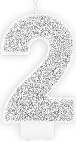 """Party Deco Świeczka urodzinowa cyfra """"2"""" srebrna 1"""