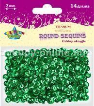 Titanum Cekiny okrągłe zielone metaliczne 7mm 14g.(Cm6gr) 1