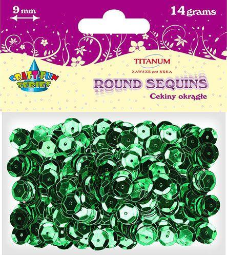 Titanum Cekiny okrągłe zielone metaliczne 9mm 14g.(Cm9gr) 1
