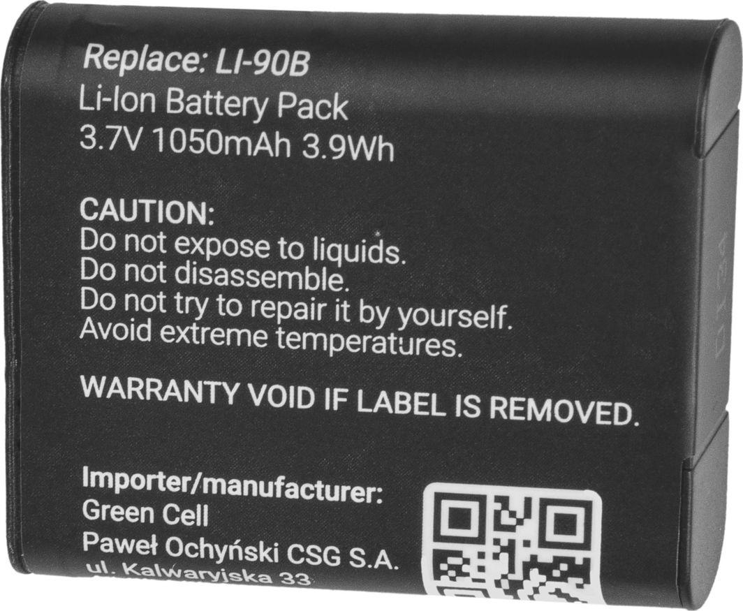 Akumulator Green Cell Bateria Green Cell Li-90B/Li-92B ® do Olympus Tough TG-1 TG-2 TG-3 TG-Tracker Stylus SH-1 SP-100 XZ-2 VoiSquare 3.7V 1050mAh 1