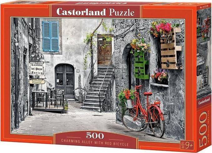 Castorland Puzzle 500 Uroczy zaułek z czerwonym rowerem 1