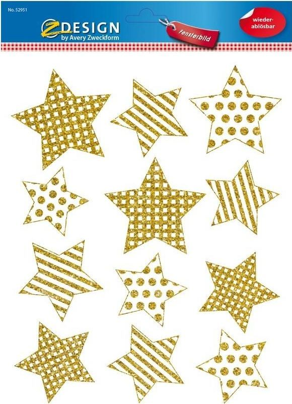Avery Zweckform Naklejki foliowe - Złote gwiazdki na okno 1