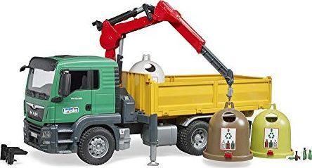 Bruder Bruder MAN TGS truck with crane, model vehicle (3 waste glass containers and bottles) 1